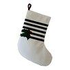 e by design Holly Decorative Holiday Stripe Print Christmas Stocking