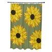 e by design Sunflower Power Flower Print Shower Curtain