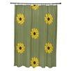e by design Sunflower Frenzy Flower Print Shower Curtain