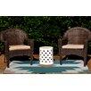 e by design Mesa Geometric Print Aqua Indoor/Outdoor Area Rug