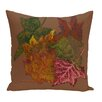 e by design Autumn Leaves Flower Print Throw Pillow