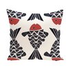 e by design Beach Vacation Big Fish Animal Throw Pillow