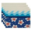 e by design Surf, Sand, & Sea Surf, Sand, & Sea Floral Placemat (Set of 4)
