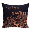 e by design Beach Vacation Word Throw Pillow