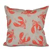 e by design Nautical Nights Lobster Fest Animal Throw Pillow