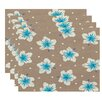 e by design Surf, Sand, & Sea Hibiscus Blooms Floral Placemat (Set of 4)