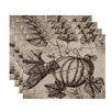 e by design Flipping for Fall Antique Pumpkin Floral Print Placemat (Set of 4)