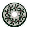 e by design Holiday Wishes Holly Wreath Decorative Holiday Tree Skirt
