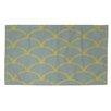 Thumbprintz Art Deco Circles Slate / Yellow Area Rug