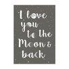 East End Prints Poster Moon and Back, Typografische Kunst