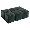 Creative Living 5 Piece Folding Upholstered Storage Bench and Ottoman Set
