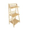 ZEW Inc Bamboo 3 Tier Decorative Accent Shelves Stand Bookcase