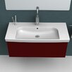 CeraStyle by Nameeks Roma Rectangle White Ceramic Wall Mounted or Self Rimming Sink with Overflow