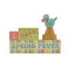 """Blossom Bucket """"I Have Spring Fever"""" Block with Bird (Set of 4)"""