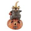 Blossom Bucket Sitting Owl on LED Jack O' Lantern Figurine (Set of 4)