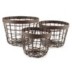 Blossom Bucket 3 Piece Metal Round Basket Set (Set of 2)