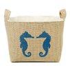 A Southern Bucket Seahorse Friends Burlap Storage Basket