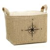 "A Southern Bucket ""Compass"" Burlap Storage Basket"