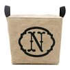 A Southern Bucket Personalized Bent Oval Burlap Storage Basket