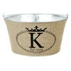 A Southern Bucket Personalized Crown Oval Burlap Wine / Beverage Tub