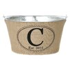 A Southern Bucket Personalized Double Dot Oval Burlap Wine / Beverage Tub