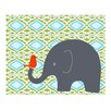Evive Designs Elephant with Bird Paper Print