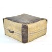 Found Object Leather and Jute Pouf Ottoman