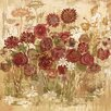 Marmont Hill Floral Frenzy Burgundy V' Art Print Wrapped on Canvas