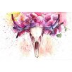Marmont Hill Floral Antlers Art Print Wrapped on Canvas