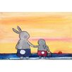 Marmont Hill 'Andrea Beach Bunnies' by Andrea Doss Art Print Wrapped on Canvas