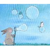 Marmont Hill 'Andrea Bunny Bubbles' by Andrea Doss Art Print Wrapped on Canvas