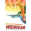 Marmont Hill Leinwandbild Travel Poster Michigan, Retro-Werbung