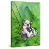 """Marmont Hill """"American Bulldog Puppy"""" by George Dyachenko Painting Print on Wrapped Canvas"""