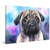 "Marmont Hill ""Pug"" by George Dyachenko Painting Print on Wrapped Canvas"