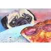 "Marmont Hill ""Pug and Pizza"" by George Dyachenko Painting Print on Wrapped Canvas"