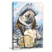 "Marmont Hill ""Pug the Sailor"" by George Dyachenko Painting Print on Wrapped Canvas"