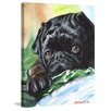 "Marmont Hill ""Black Pug"" by George Dyachenko Painting Print on Wrapped Canvas"
