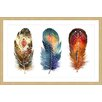 Marmont Hill Colored Feathers  Framed Graphic Art