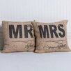 Adams & Co 2 Piece Mr Right, Mrs Always Right Burlap Throw Pillow Set