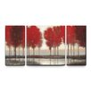 Artefx Decor 'Red Autumn' 3 Piece Painting Print on Wrapped Canvas Set