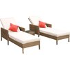 Firmans Direct Paloma Duo 3 Piece Double Sun Lounger Set with Cushions