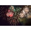 Fluorescent Palace Fireworks! White Waterfall Photographic Print on Canvas