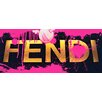 Fluorescent Palace Pop Comic Chic Textual Art on Canvas in Pink