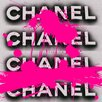 Fluorescent Palace Fashion Forward Textual Art on Canvas in Pink