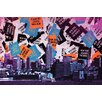 Fluorescent Palace New York vs the World Graphic Art on Canvas