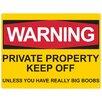Red Hot Lemon Schild Warning Big Boobs, Typografische Kunst