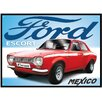 Red Hot Lemon Ford Escort Mexico Graphic Art Plaque