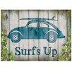 Red Hot Lemon Sign - VW Beetle Surf's Up Graphic Art Plaque