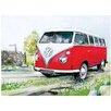 Red Hot Lemon VW Watercolour Camper Country Lane Art Print Plaque