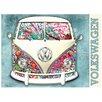 Red Hot Lemon VW Camper Paint Splat Graphic Art Plaque
